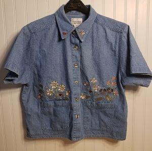 Christopher & Banks Denim Jean Shirt Embroidery L
